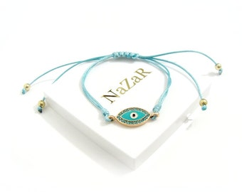 Evil Eye Bracelet, Evil Eye Jewelry, Friendship bracelet, Charm bracelet - Trendy Blue Evil Eye bracelet arrives in a white gift box!