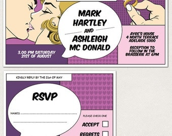 Comic Wedding Invitation and RSVP Cards -  Purple - Instant download, edit and print.