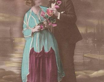 Romantic vintage lovers postcard . Couple Love card.