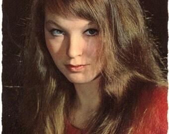 ON SALE 20% OFF Marina Vlady Vintage Postcard .Old paper .Retro postcard .retro portrait