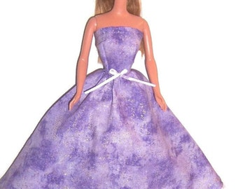 Fashion Doll Clothes-Glittery Lavender Strapless Dress