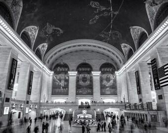 Grand Central Station, Manhattan, New York City, New York, Subway, Black and White, Sepia - Travel Photography, Print, Wall Art