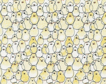 Chick Quilt Fabric, Babes in Farmland Gail C3127 Yellow Timeless Treasures, Baby Chicks Fabric, Easter Fabric, Farm Animal Fabric, Cotton