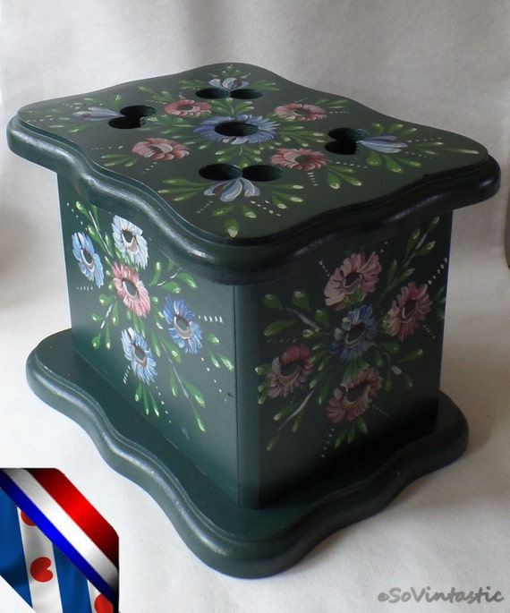 Beautiful Wooden Foot Stove Handpainted Footwarmer Folk