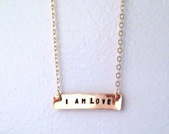 I Am Love Necklace, I Am Love Bracelet, Gold Bar