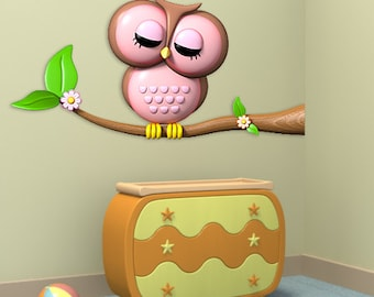 Wall decals owl A104 - Stickers chouette A104