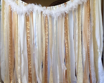 Gold Backdrop Ivory White Lace Sequins Ribbon Curtain Wedding Gatsby Garland Feathers Art Deco Photobooth 20s Prop- Birthday Cake smash