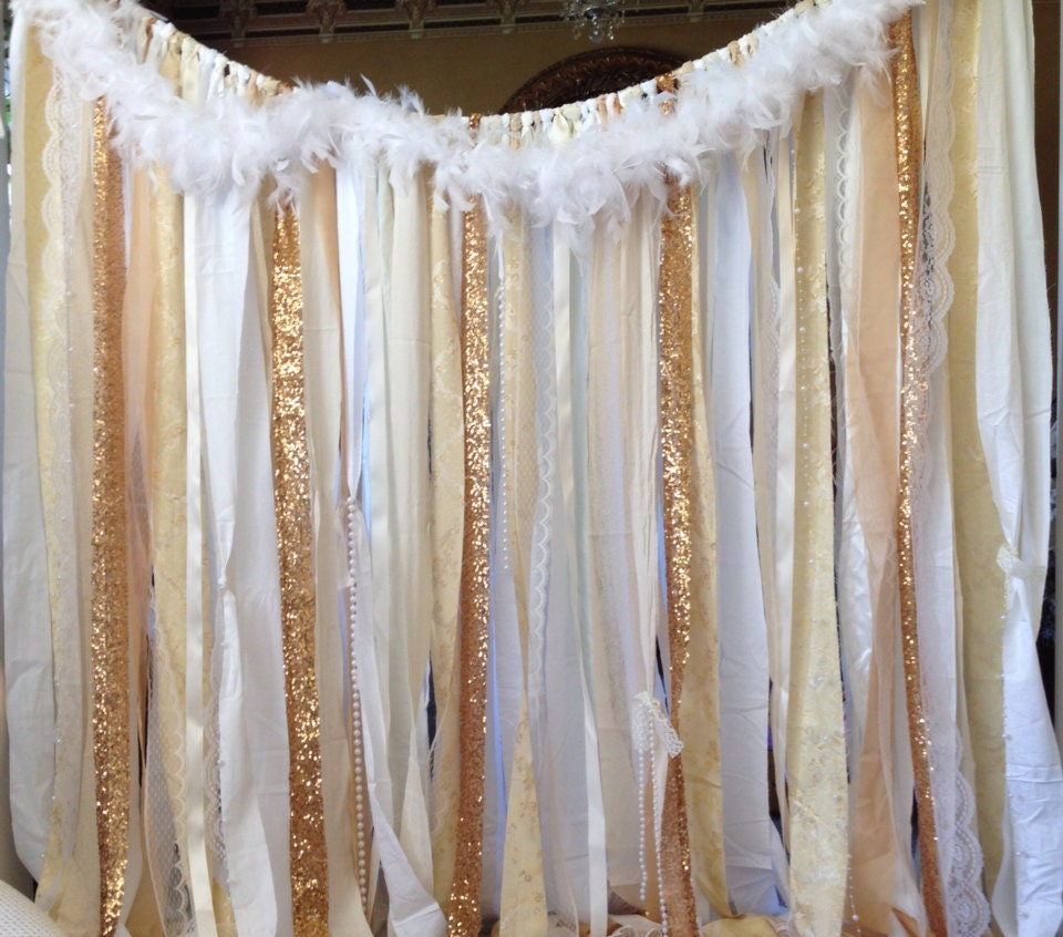 Gold Backdrop Ivory White Lace Sequins Ribbon Curtain Wedding