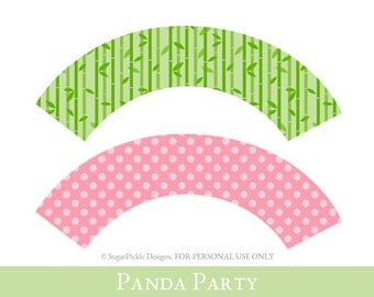 Panda Cupcake wrappers, cupcake wrapper printable, cupcake label printable, Panda Party Printable, Panda Party Decorations