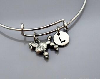 Poodle charm bangle, Poodle bracelet, Silver poodle charm jewelry, Expandable bangle, Personalized bracelet, Charm bangle, Initial bracelet