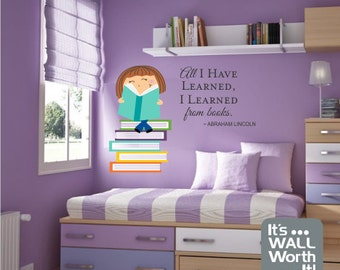 Girl or Boy Reading Books with Quote Vinyl Wall Decal - Nursery or Girl's Room Wall Sticker