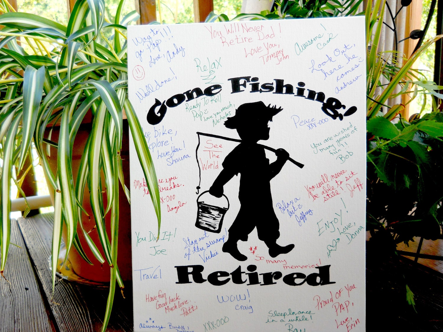 Retirerment Party Customized Guest Book Gone Fishing Hand