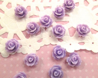 Lavender 10mm rose cabochons, cute flower cabs