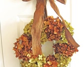 Fall wreath, Thanksgiving Wreath, Fall Decor, Thanksgiving Decor, Front Entryway Brown Green Hydrangeas