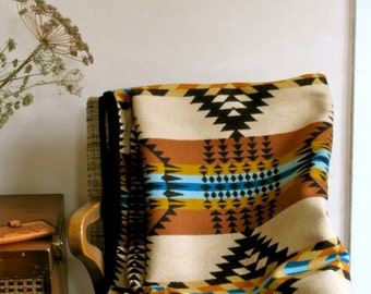 Wool Throw Blanket Large Size in Gold Black Turquoise Ranch Arroyo Native inspired Design