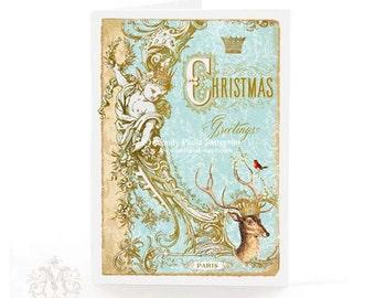 Deer, Christmas card, gold crown, aqua blue, cherub, antlers, Paris, French, reindeer, robin, holiday card, blank inside, glitter option