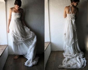 Wedding dress, Boho wedding dress, Bohemian Wedding dress, Hippie wedding dress, Alternative wedding dress, Long train wedding dress, custom