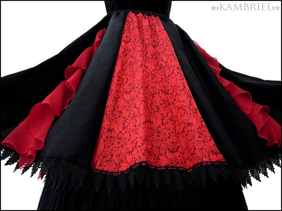 Running Away with the Circus Skirt with Red Silk Floral Jacquard by Kambriel - Brand New & Ready to Ship!