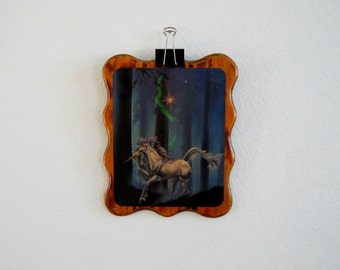 UNICORN vintage wood wall hanging rainbow art