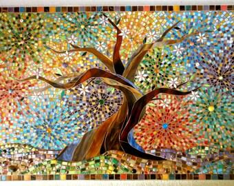 Muliticoloured Tree of Life Greetings Card - Mosaic Art - Tree of Life Card - Glass Mosaic Tree Stained Glass Tree  Art Print - Oak Tree Art