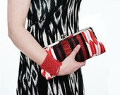Clutch bag with detachable chain handle  Red Black and White Geometric Kimono and Obi Fabric