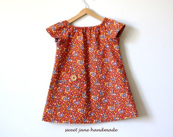 GIRLS  BLOUSE / size 4T / red calico vintage fabric / peasant blouse