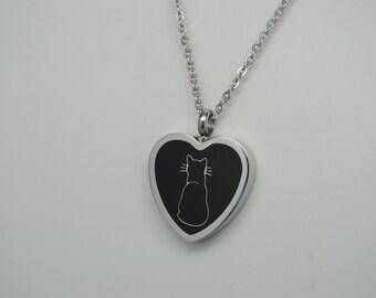 Cat Cremation Urn Necklace Heart Urn Black Cat Engravable Cremation Jewelry Pet Urn Memorial Keepsake Pendant