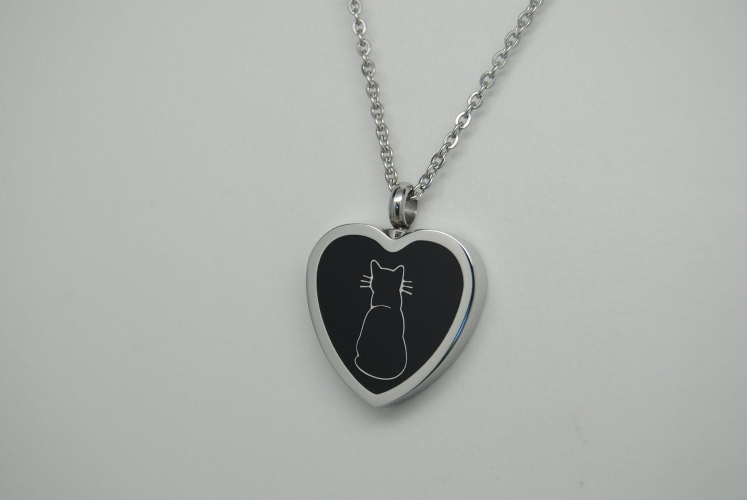 cat cremation urn necklace urn black cat engravable
