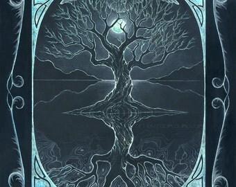 Winter (As Above, So Below) - tree of life - four seasons art - 8x10 art print of oil pastel etching