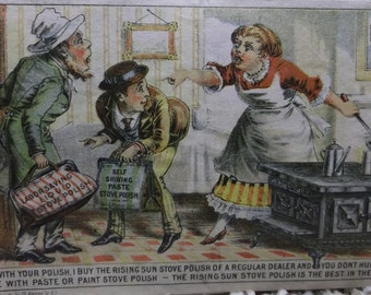 Lady in Kitchen Chasing Salesmen Away - Victorian Trade Card - Rising Sun Stove Polish - 1800's