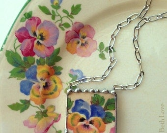 Broken china jewelry necklace antique blue yellow pansy chintz china