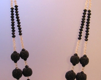 Art Deco Black Crystals & Beaded Balls Mlti-Strand Necklace Vintage