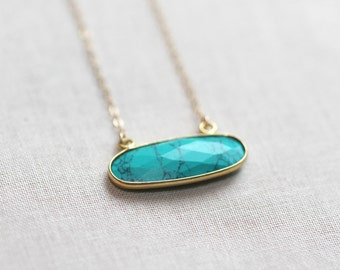 Turquoise and Gold Oval Boho Necklace 14kt Gold Fill
