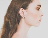 Sterling silver trapezium earrings.