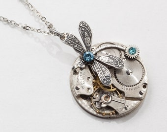Steampunk Necklace Vintage Waltham pocket watch movement gears aquamarine blue crystal & silver dragonfly pendant necklace Statement Gift