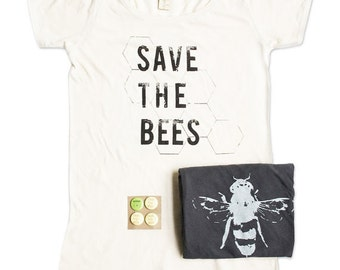Bee Shirts - Womens ORGANIC Womens Save The Bees Tshirt Bundle -  Bee Tshirts - Small, Medium, Large, XL - Gift Bundle