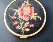Powder Compact With Mirror,  Zell Fifth Avenue,  Petit Point Embroidered Top, Pink Rose SALE