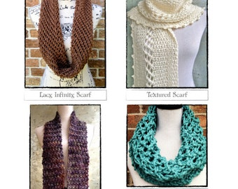 Textured Scarves Knitting Patterns Infinity Scarf Chunky Cowl Pattern Pack DIY Christmas Gifts