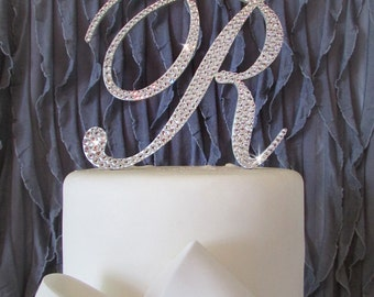A Perfect Monogram cake toppers - Swarovski Crystal cake topper