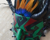 Quetzalcoatl - Leather Dragon Mask - Feathered Serpent - Mardi Gras, Carnival