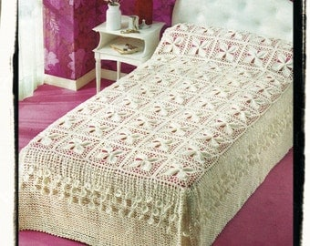 Instant Download PDF Crochet Pattern to make a Lily Pad Heirloom Lace Bedspread or Pram Blanket Cot Cover Quilt Granny Squares