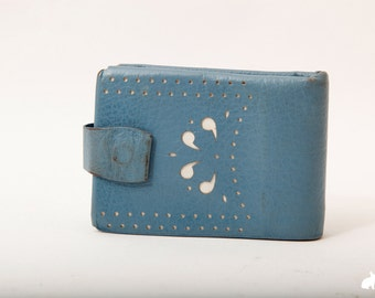 Amazing 60s Baby Blue Wallet with White Floral Cut Outs Vintage Coin PurseNew