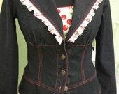 Junk Gypsy Clothing - Dark Denim Cherry Ruffle Cropped Jacket - Size 6