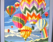Vintage Crewel Embroidery - Hot Air Balloon - 1970's - Retro Wall Art