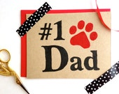 Dog Dad Card Set ECO Friendly #1 Best Dad Father's Day % to ANIMAL RESCUE Pet Parent Sympathy Cat Dad Paw Print Pet Lover Red New Dog Black