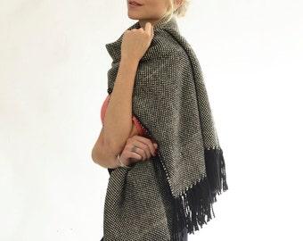 Plaid blanket scarf, Winter Merino Wool Scarf, Long Black & White Hand Woven Fringed Shawl Wrap Eco Fashion