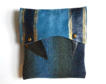 Ombre Cashmere Pouch Clutch - Cashmere and Leather Clutch - Suede Leather Clutch - iPad Case