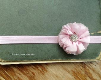 PINK RHINESTONE Embellished Headband, Baby Headband, Infant Headbands, Pink Newborn Headband, Pink Headbands, Newborn Headbands