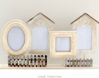 SALES, Wooden shabby chic set of photo frames, Simplicity line, fall winter home decor