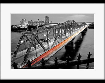 Ottawa Photography Alexandra Bridge to Gatineau PRINT Fine home wall decor, Night Blue Black and White Red Gift for him her husband Picture